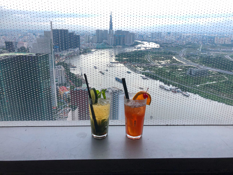"You can see a beautiful view from a building called ""Bitexco Financial Tower"" in Ho Chi Min City! Picture was taken from 49th floor with an amazing view of the city."