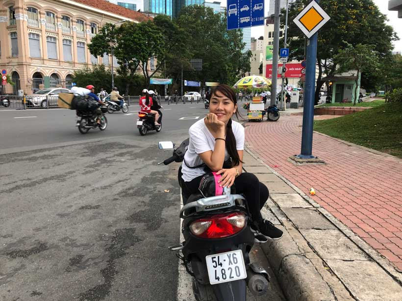 A friend (Vietnamese girl) from Ho Chi Min City who had been giving me a lift all the time.