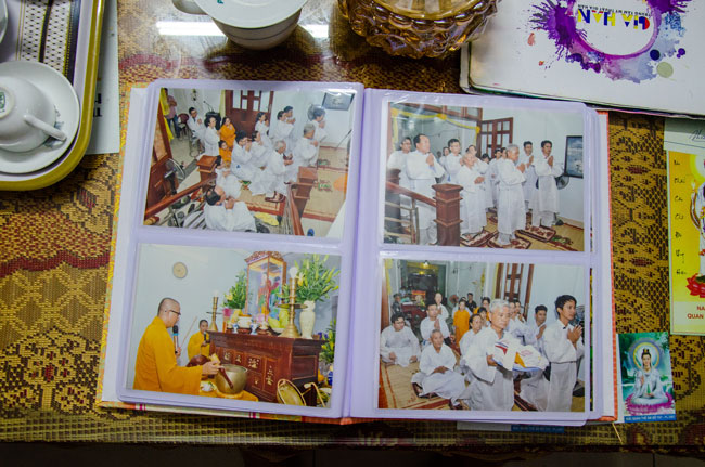 You can see Vietnamese family mourning in white clothes and headscarf