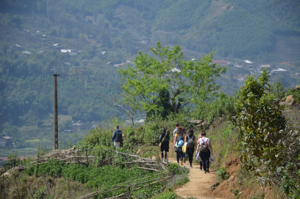 You can see people (friend and I) who are walking in Sapa nature